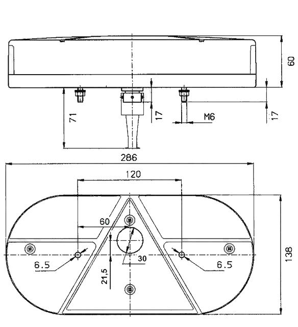 Světlo koncové Jokon 610 sdružená (PRAVÉ) – nákres