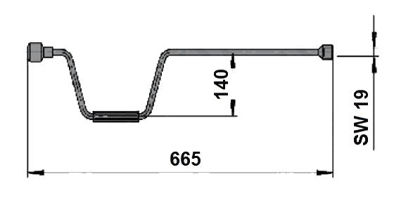 Klika k opěrné noze AL-KO SW19-665 mm nákres