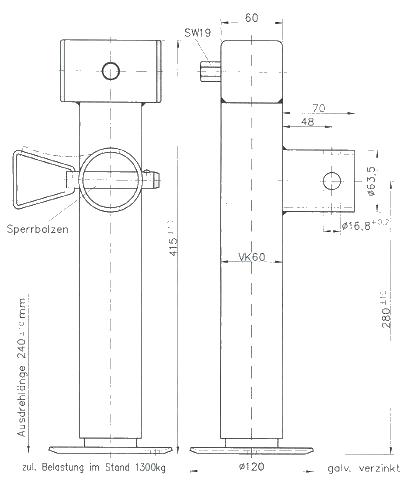 Opěrná noha SF 60-19-280 (bez příruby), nákres