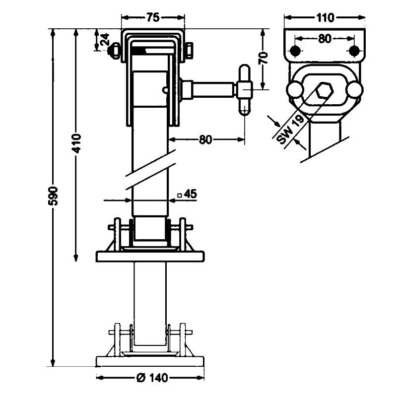 Opěrná noha stavitelná a sklopná 45×45 – 340 AL-KO 500kg, č. 100749, nákres