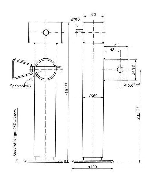 Podpěrná noha SF 60-19-265 KNOTT (bez příruby), 1300 kg, nákres