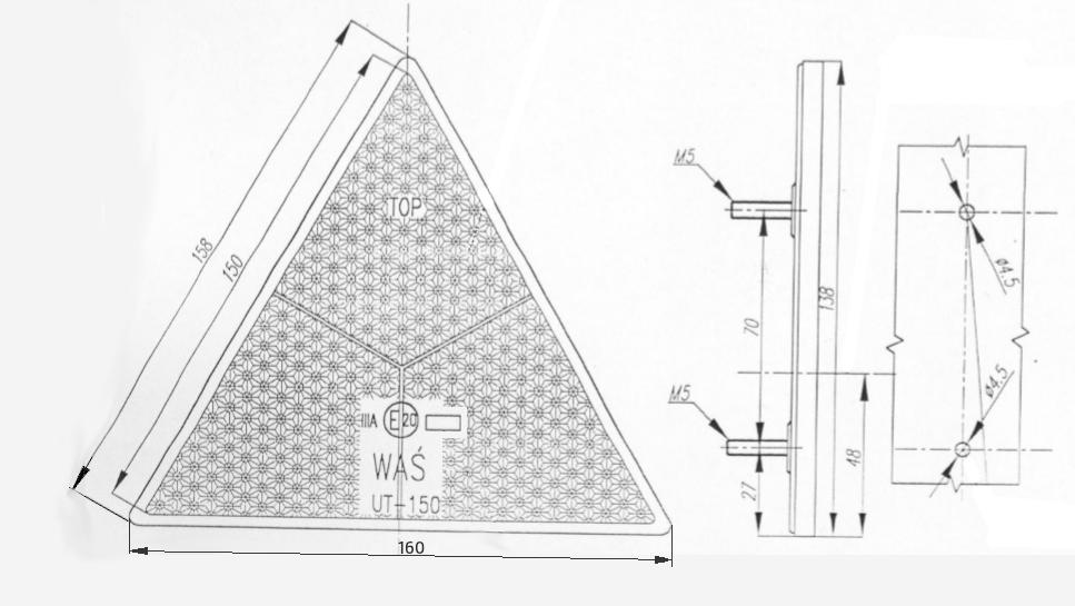 Odrazka trojúhelníková, se šroubky, 161×138 mm, nákres