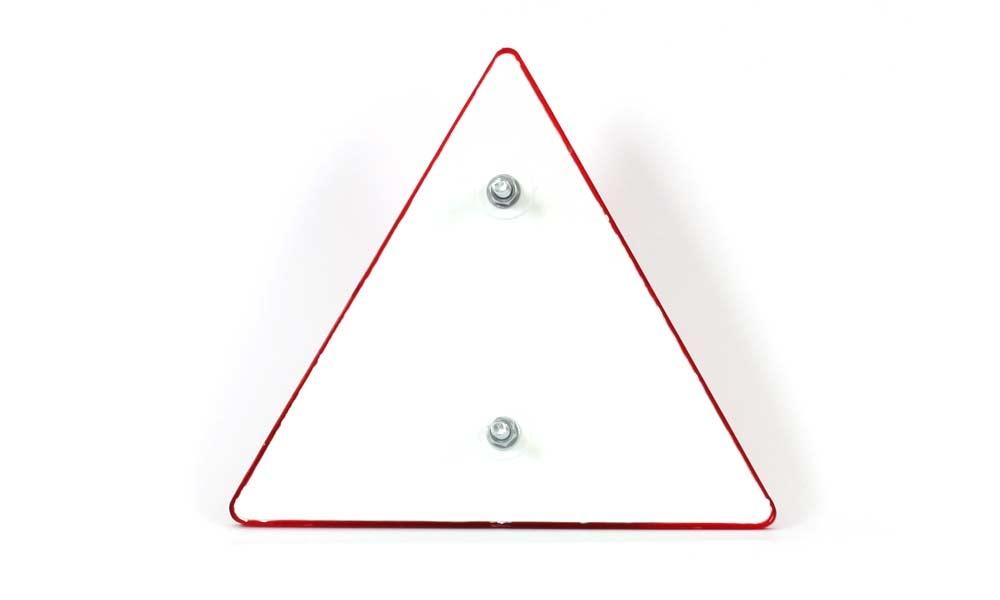 Odrazka trojúhelníková, se šroubky, 161×138 mm, zezadu