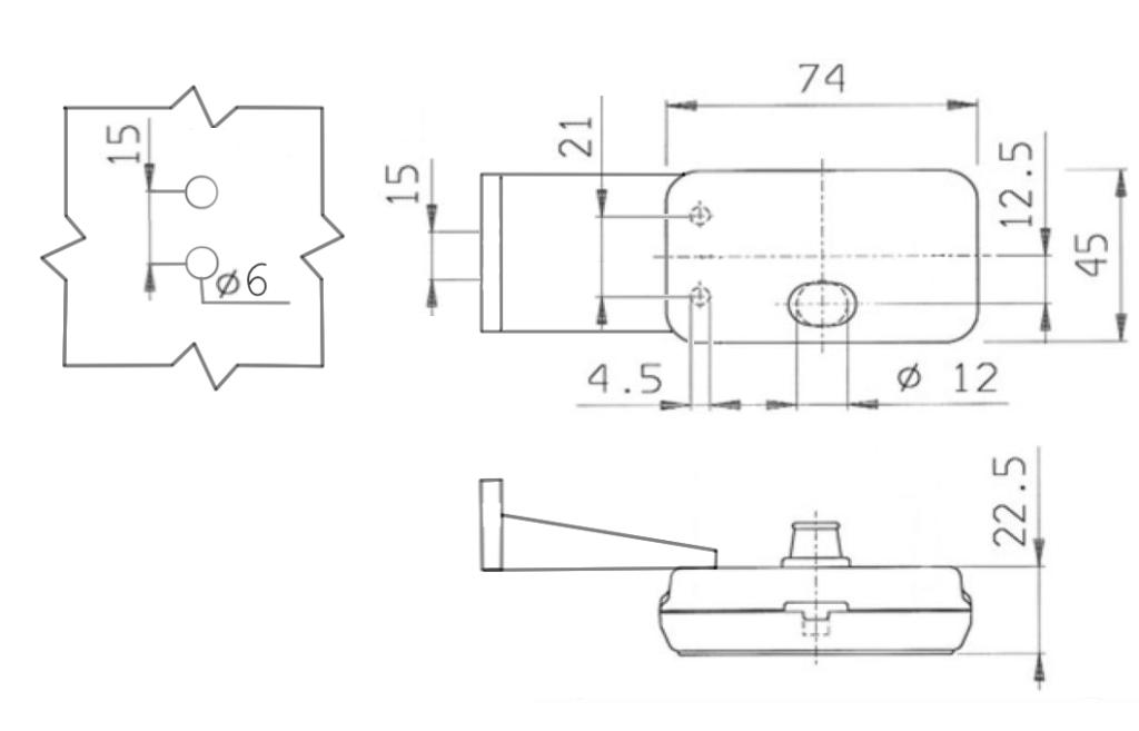 Svítilna Jokon PLR 130-WP přední obrysová s odrazkou, držák, pravá, NÁKRES