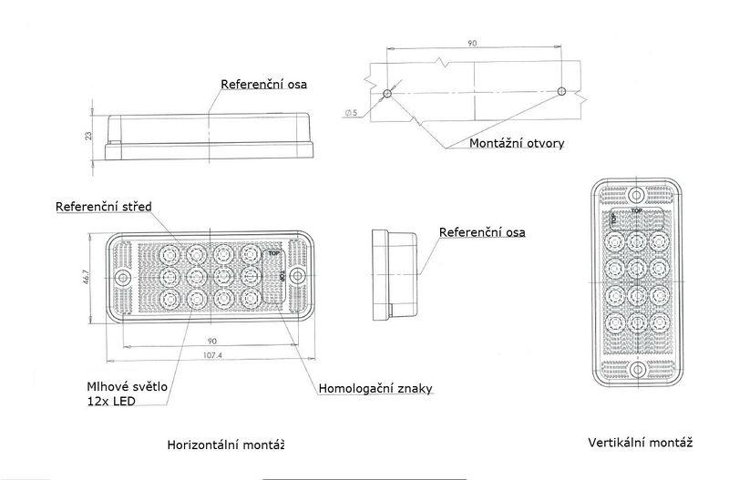 Mlhovka LED WAS W 83D, 12-36 v, IP68, nákres
