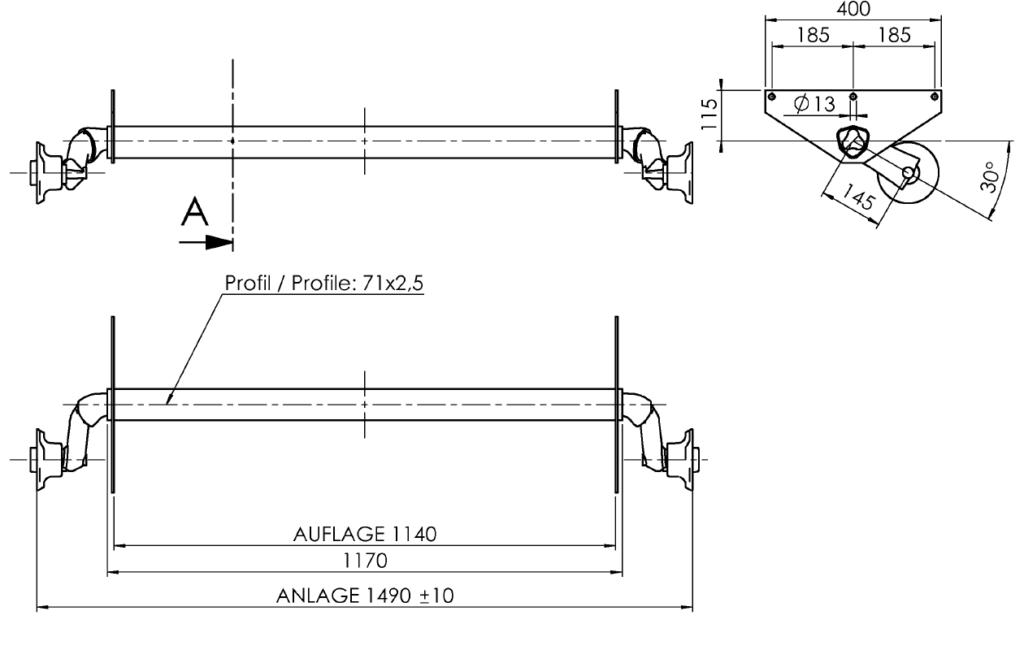 Náprava AL-KO UBR 700-5 (750 kg) a=1140 mm, 100×4 (Sportjacht) – nákres