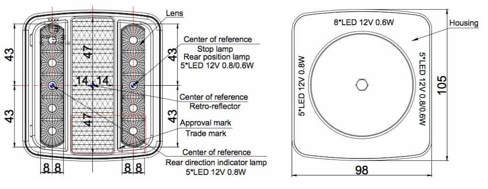 Světlo koncové LED, Multipa, nákres