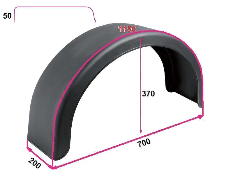 """Blatník plast 13"""" – 200 mm DOMAR černý oblý, rozměry"""