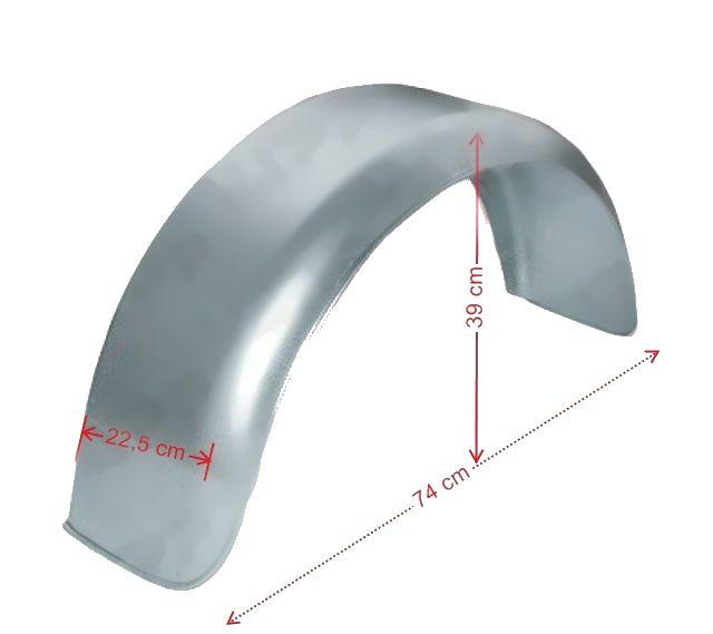 """Blatník plechový oblý 14"""" – 220 mm, pozink -rozměry"""