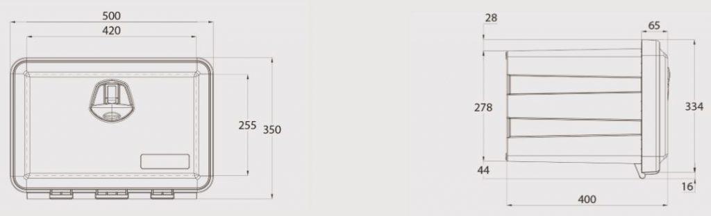 Box na nářadí JUST 500 500x350x400 mm, dva zámky (horní otvírání), nákres