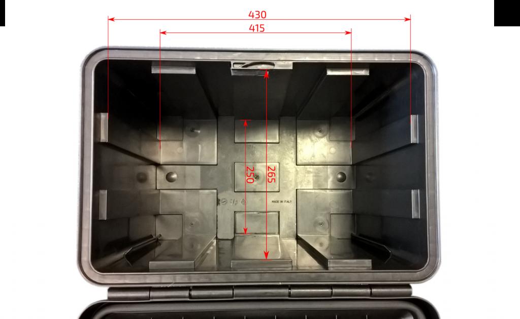 Box na nářadí JUST 500 500x350x400 mm, dva zámky (horní otvírání), rozměry