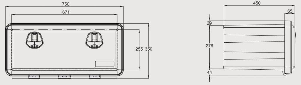 Box na nářadí JUST 750 750x350x450 mm, nákres