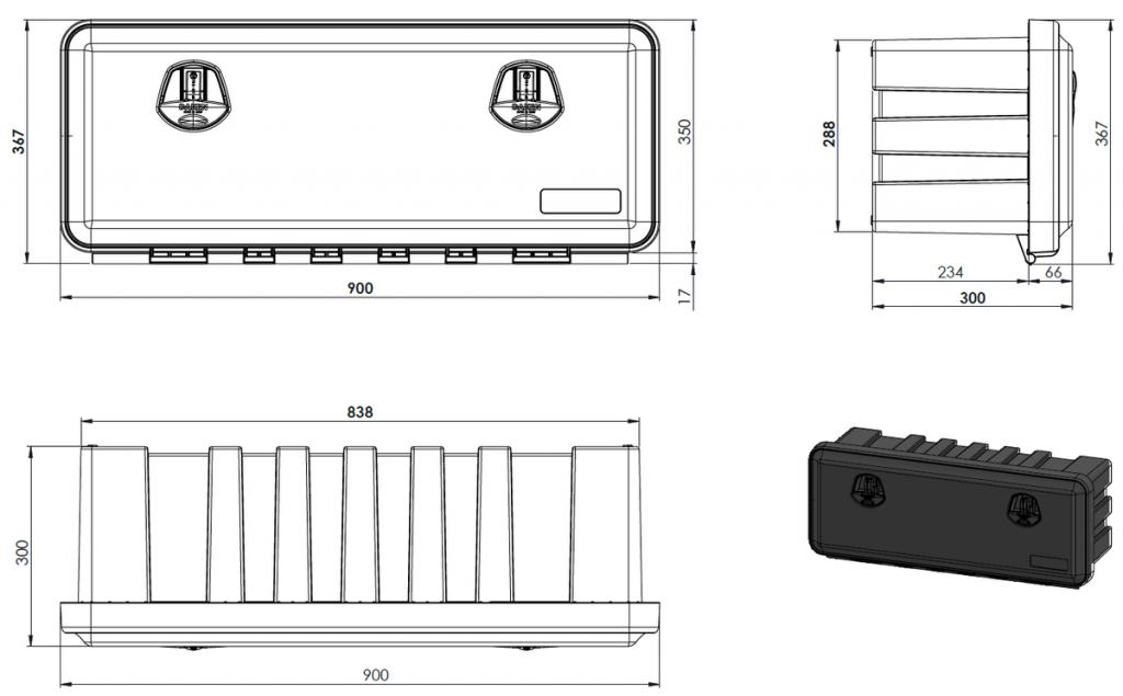 Box na nářadí JUST 900-R, 900x367x300 mm, dva zámky (horní otvírání), obr. 4