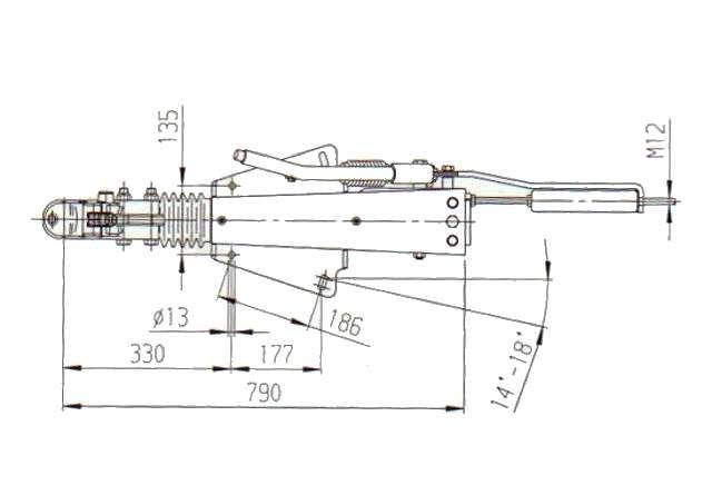 Brzda nájezdová AL-KO 2,8VB (univ. montáž), s kloubem AK351, nákres