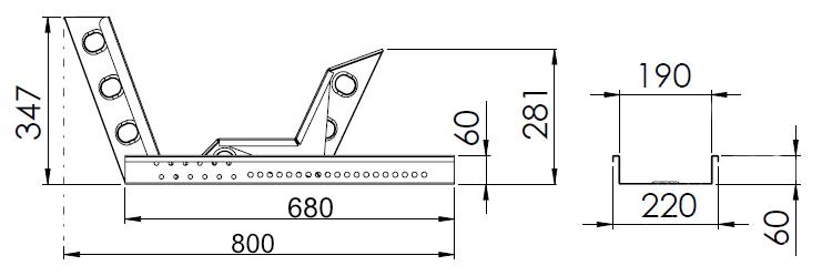 Držák motocyklu s automatickým zajištěním (krátký), délka 680 mm, šířka 190 mm, nákres