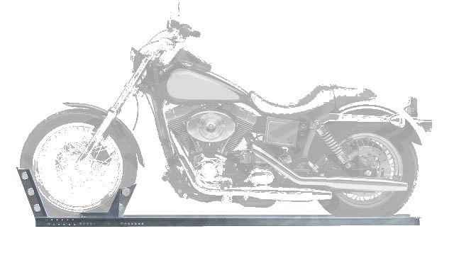 Držák motocyklu s automatickým zajištěním (pojezdová lyžina), délka 2495 mm, šířka 190 mm, obr. 2