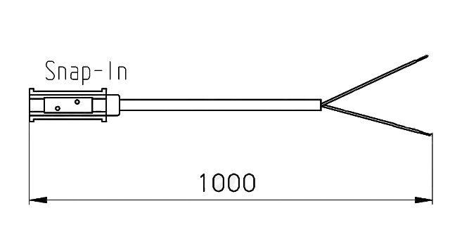 Kabel propojovací ukončení SNAP-IN (1m), nákres