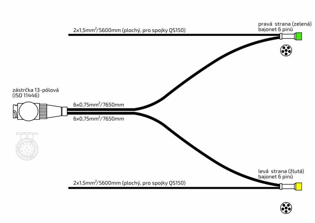 Kabeláž Jokon 7,65m – 13-pól. zástrčka, s předními vývody QS150, baj6, nákres