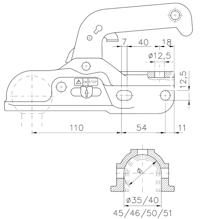 Kloub přípojný WW 30-K+Z 3000 kg + sada redukcí pr. 35-40-45-50 mm, nákres