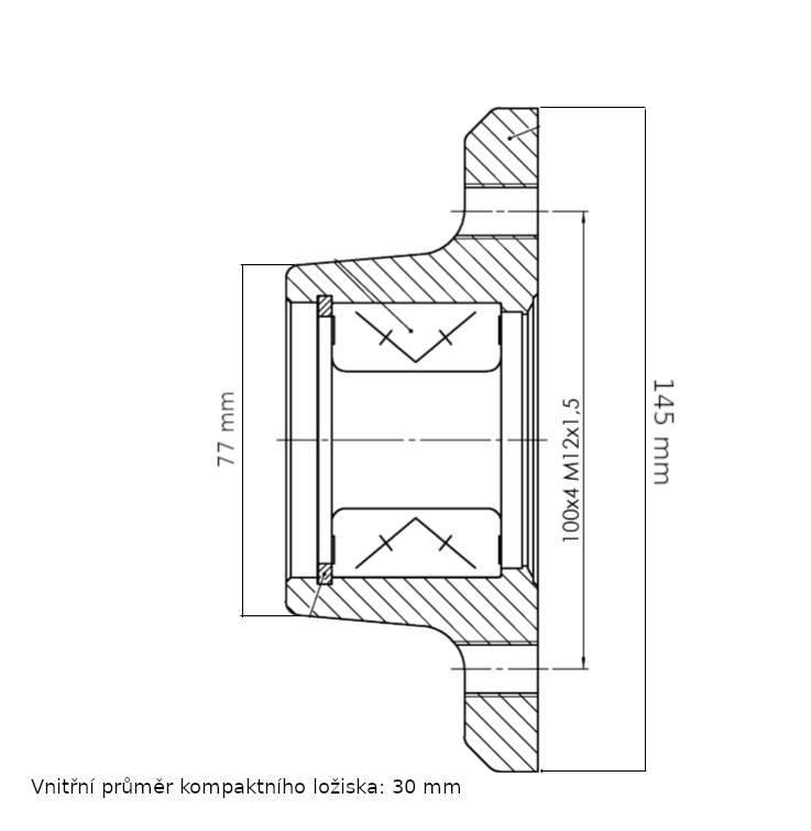 Náboj nebržděný AL-KO 100×4 compact ložisko 30mm, nákres