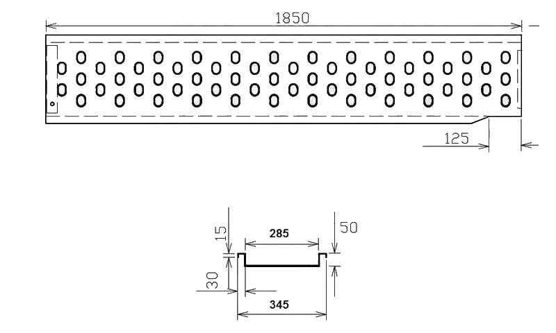 Nájezd VAPP 1850-285 mm, nákres