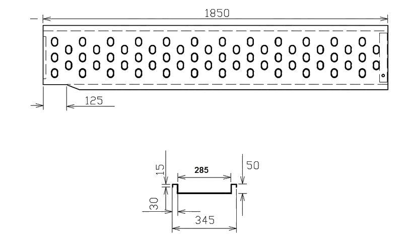 Nájezd VAPP 1850-285 mm pravý, nákres