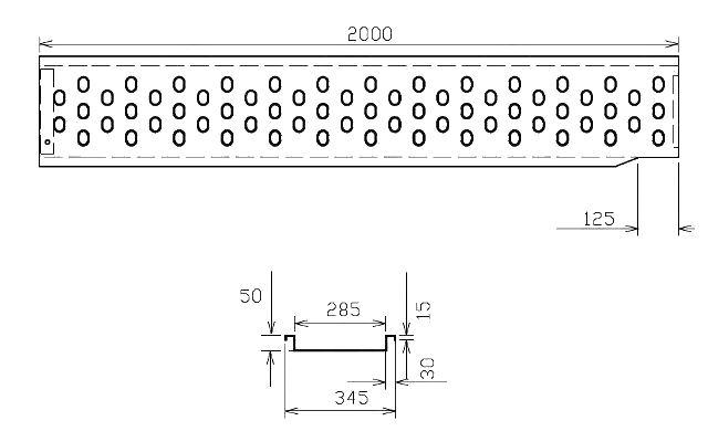 Nájezd VAPP 2000-285mm – LEVÝ, nákres