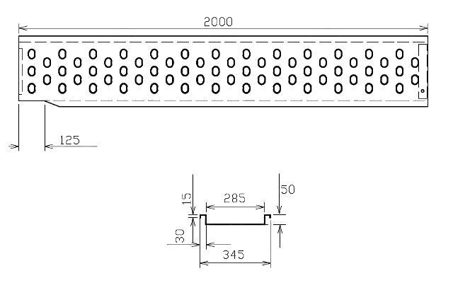Nájezd VAPP 2000-285mm – PRAVÝ, nákres