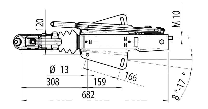 Nájezdová brzda AL-KO 161S SM 700-1350 kg (spodní montáž), nákres