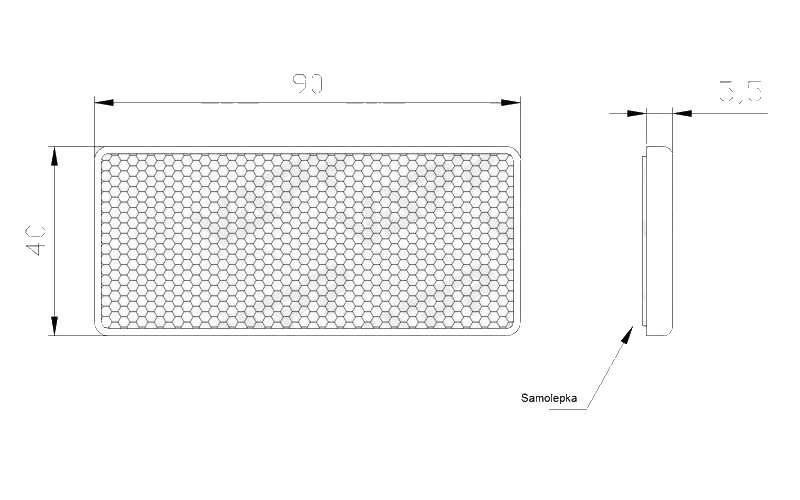 Odrazka bílá, samolepící, obdélníková, 90×40 mm , nákres