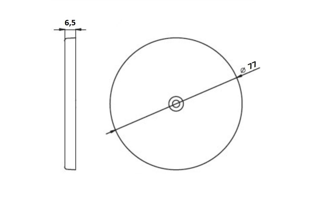 Odrazka oranžová, kulatá s dírou, pr. 75 mm, nákres