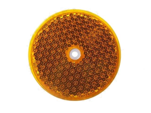 Odrazka oranžová, kulatá s dírou, pr. 75 mm