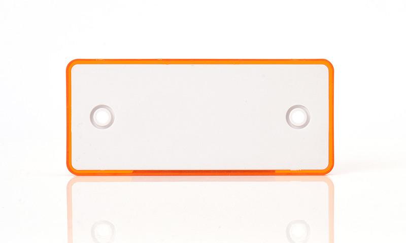 Odrazka oranžová,obdélníková, s dírami, 96×42 mm, zezadu