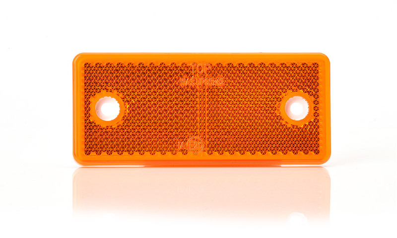 Odrazka oranžová,obdélníková, s dírami, 96×42 mm