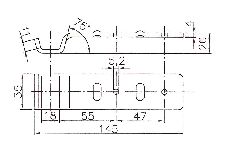 Protikus uzávěru BVG 20-A rovný, nákres
