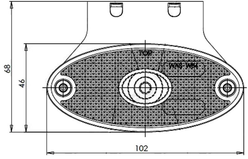 Světlo poziční diodové LED WAS W64, 12-24V, eliptická na plast. držáku, nákres