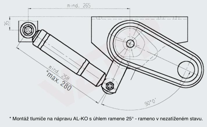 Tlumič k nápravě Al-ko, na 130 km-h (červený, do 2000kg na nápr.), nákres 2
