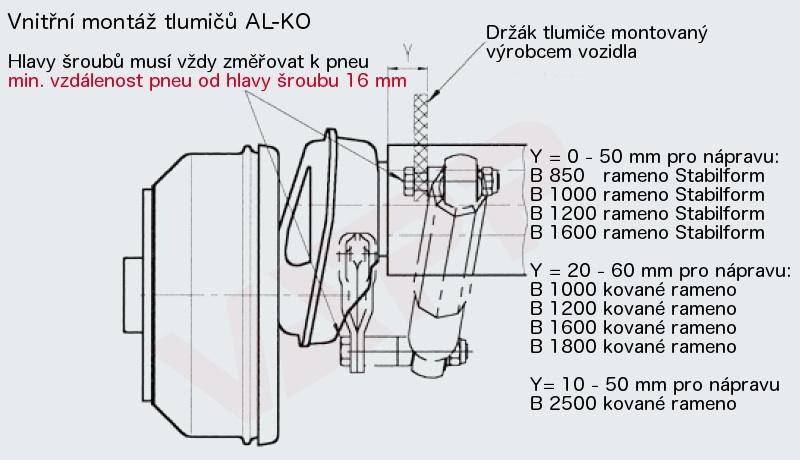 Tlumič k nápravě Al-ko, na 130 km-h (červený, do 2000kg na nápr.), nákres