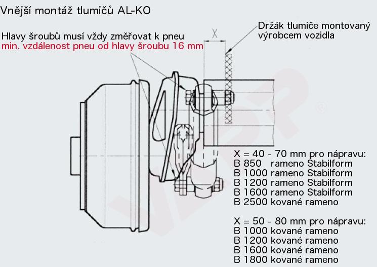 Tlumič k nápravě Al-ko, na 130 km-h (modrý, do 1350 kg na nápr.), použití