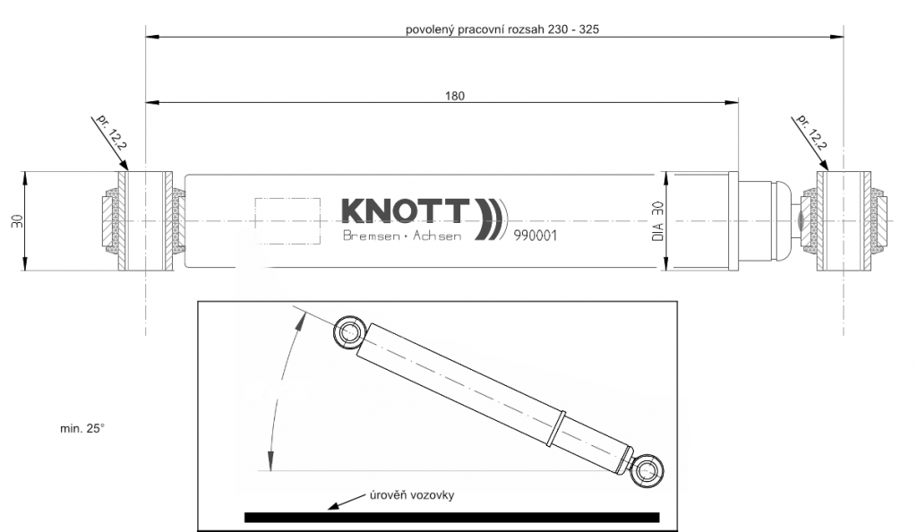 Tlumič k nápravě KNOTT typ 990001 (do 1800 kg na 1 nápravu), nákres