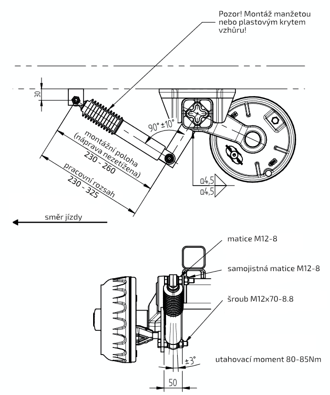 Tlumič k nápravě KNOTT typ 990001 (do 1800 kg na 1 nápravu), nákres 2