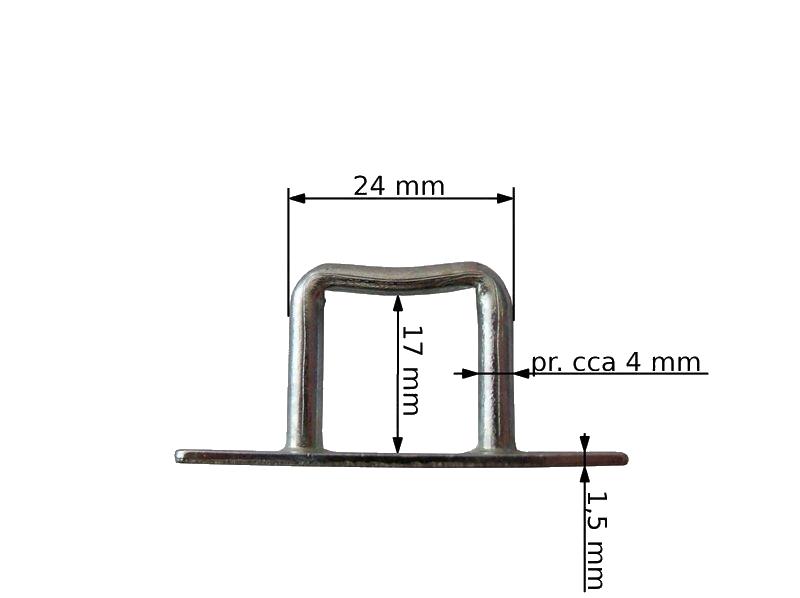 Třmen hranatý malý pro upnutí plachty, pozink, rozměry 2