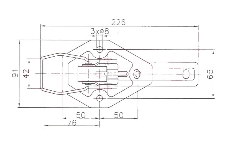 Uzávěr bočnice KNOTT – přezka bez protikusu, plochý třmen šestihran, nákres