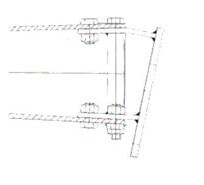 Držák podpěrného kola na brzdu Al-ko 2,8VB, montáž zezadu, nákres