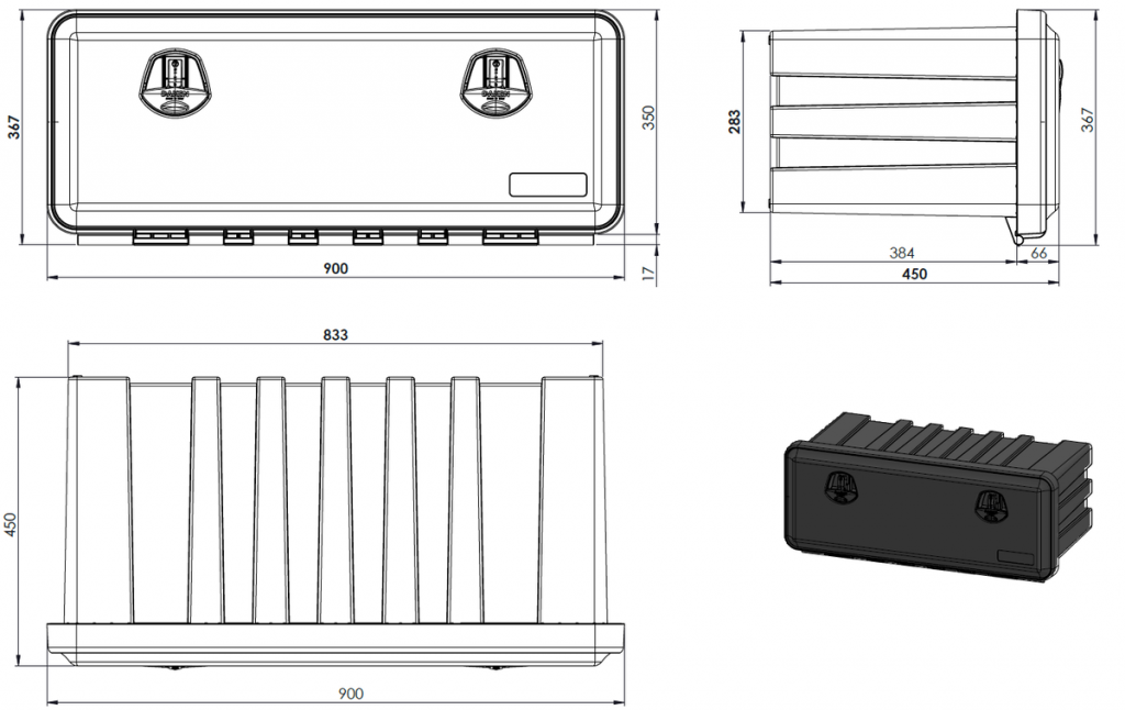 Box na nářadí JUST 900 900x367x450 mm, nákres
