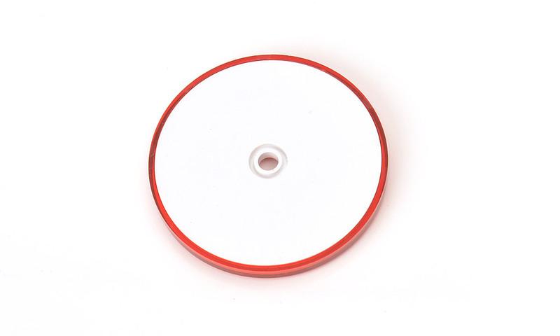Odrazka červená, kulatá s dírou, pr. 61 mm, obr. 1