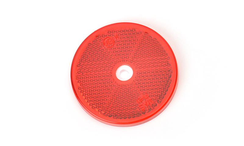 Odrazka červená, kulatá s dírou, pr. 61 mm