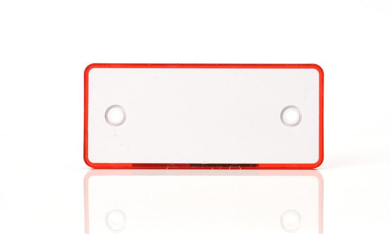 Odrazka červená, obdélníková, 96×42 mm s otvory, obr. 1