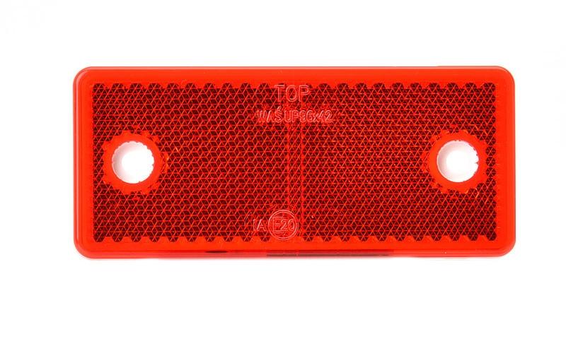 Odrazka červená, obdélníková, 96×42 mm s otvory