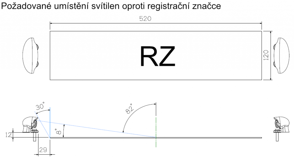 Osvětlení RZ , LED Lucidity 26256NCK-G (12-24V), QS150, nákres 2